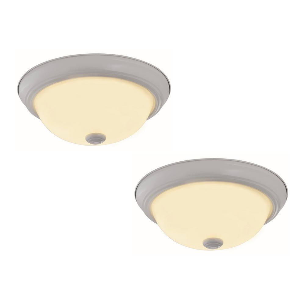 Hampton Bay 12in 2 Light Round Bright White Led: Lithonia Lighting 14 In. Square Low-Profile White LED