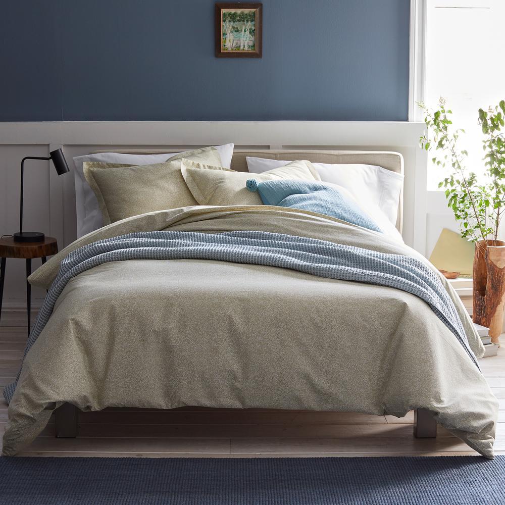 Lofthome Maze Khaki Geometric Organic Cotton Percale Queen Duvet Cover