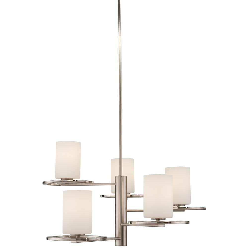 Home Decorators Collection 5 Light Polished Nickel And Brushed Nickel  Chandelier With Etched Opal Cylinder Glass Shades 27265   The Home Depot
