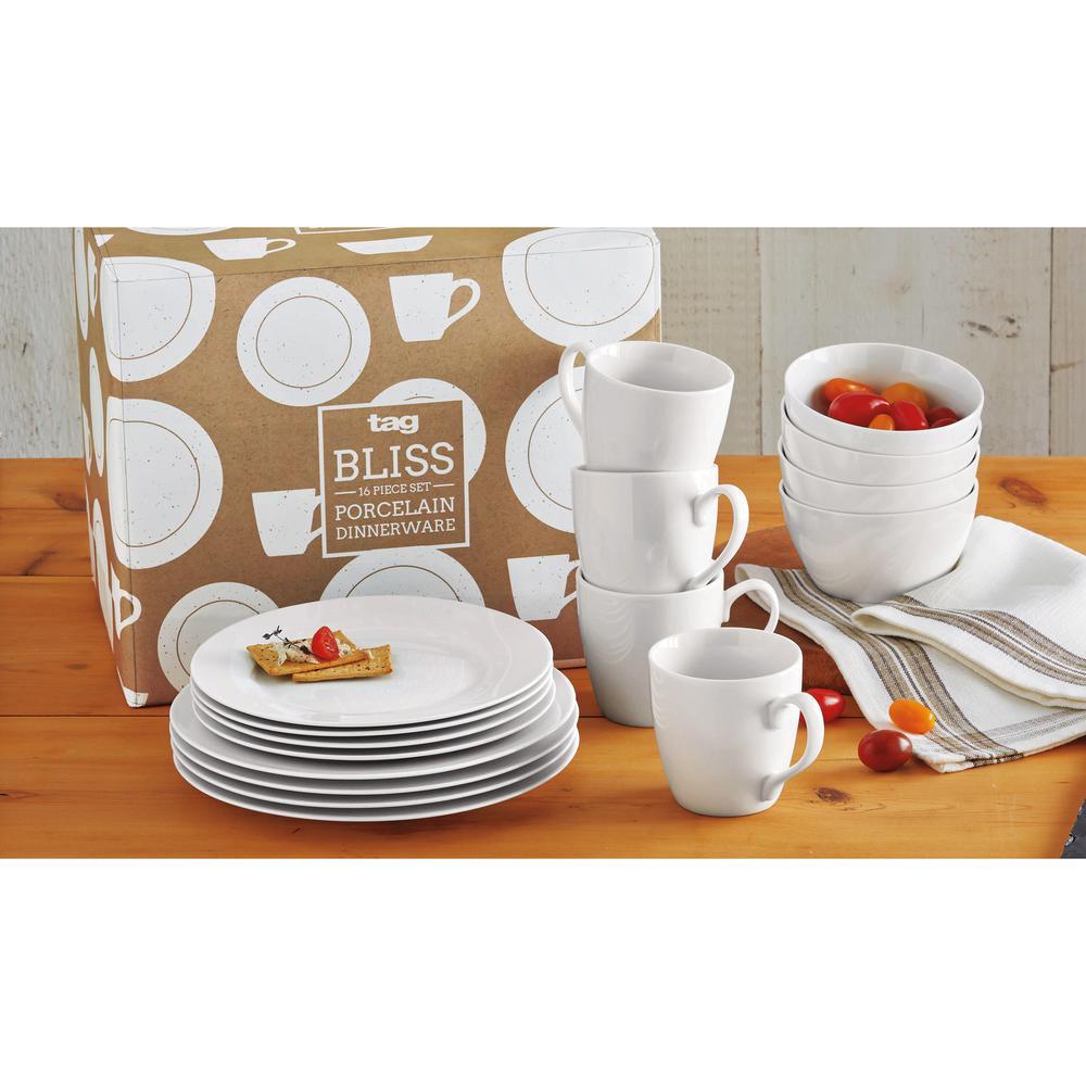 Bliss 16-Piece White Dinnerware Set