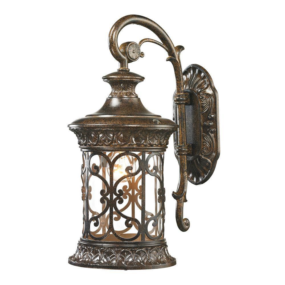 An Lighting Marius Collection 1 Light Hazelnut Bronze Outdoor Wall Lantern Sconce