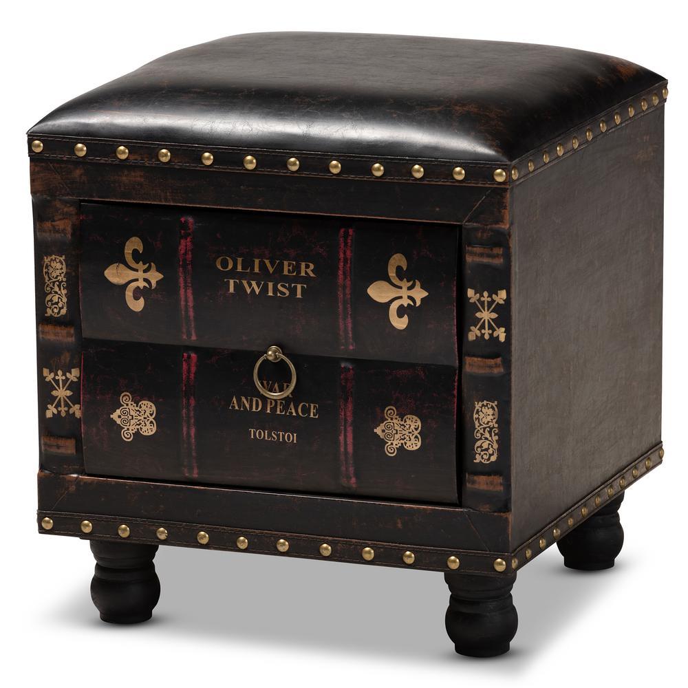 Baxton Studio Charlier Dark Brown Storage Ottoman 153-9185-HD