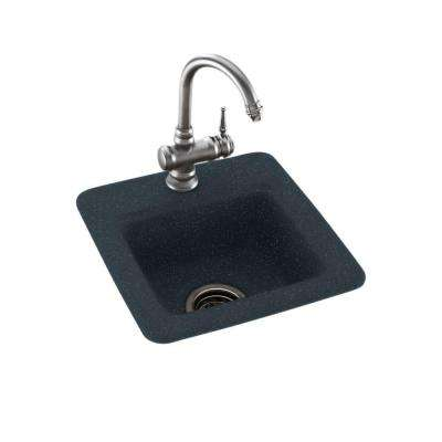 Drop-In/Undermount Solid Surface 15 in. 1-Hole Single Bowl Bar Sink in Black Galaxy