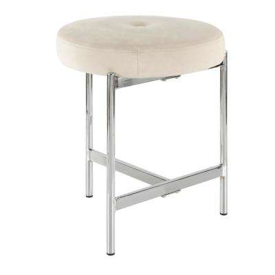 Chloe 18 in. White Velvet and Chrome Vanity Stool