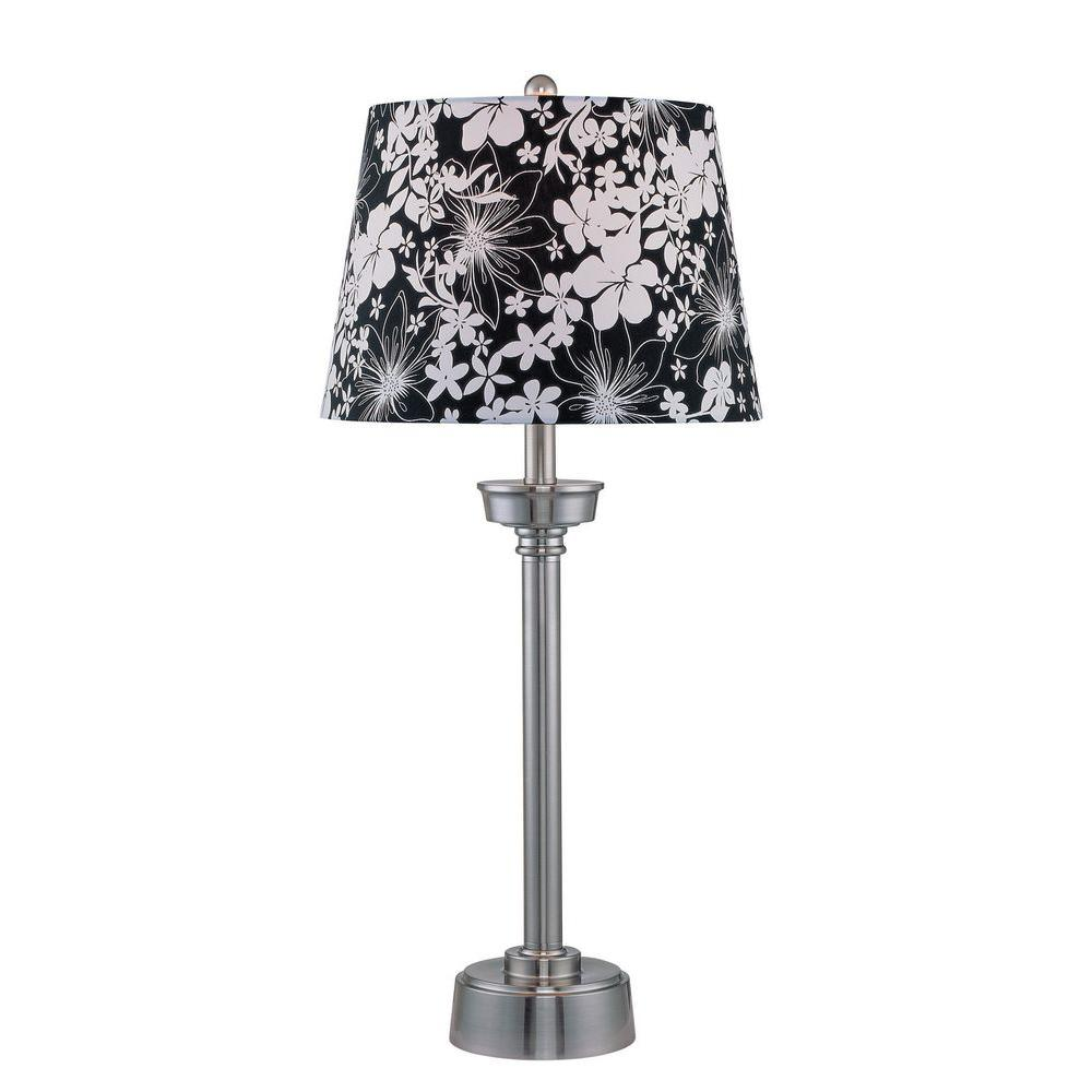 Illumine 1-Light 31 in. Table Lamp Black Finish Black Fabric Shade-DISCONTINUED