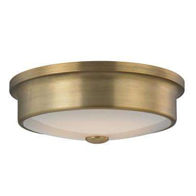 12 in. Aged Brass 16-Watt Integrated LED Flush mount with White Glass Shade