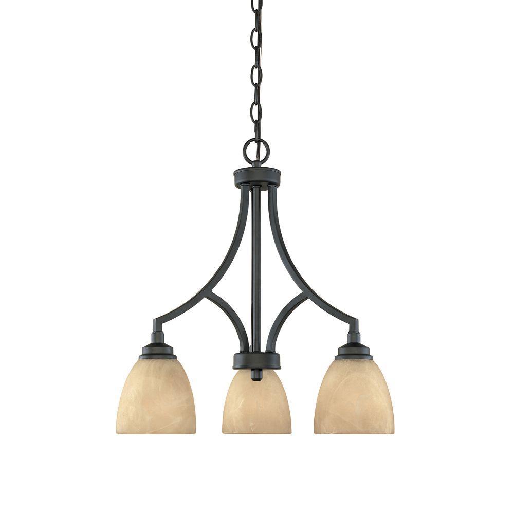 Manhattan 3-Light Burnished Bronze Hanging Chandelier