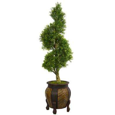4.5 ft. High Indoor Boxwood Spiral Topiary Artificial Tree in Decorative Planter