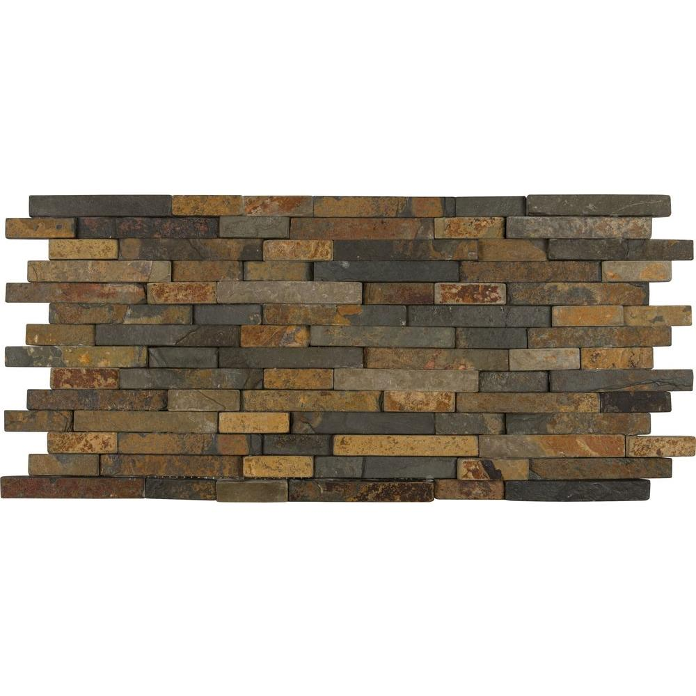 Msi Rustique Interlocking 8 In X 18 10 Mm Slate Mesh Mounted Mosaic Wall Tile Sq Ft Case Il The Home Depot