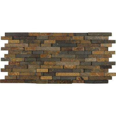 Rustique Interlocking 8 in. x 18 in. x 10 mm Slate Mesh-Mounted Mosaic Wall Tile (10 sq. ft. / case)