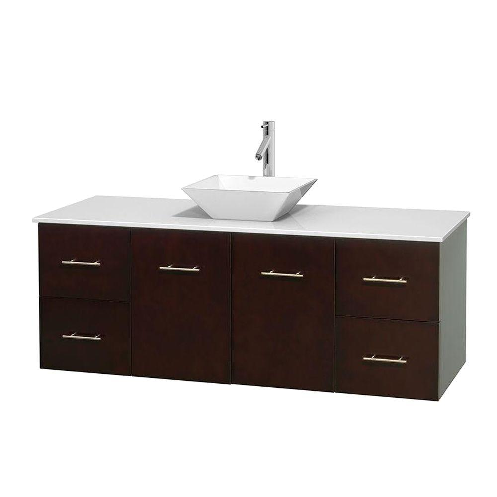 Centra 60 in. Vanity in Espresso with Solid-Surface Vanity Top in