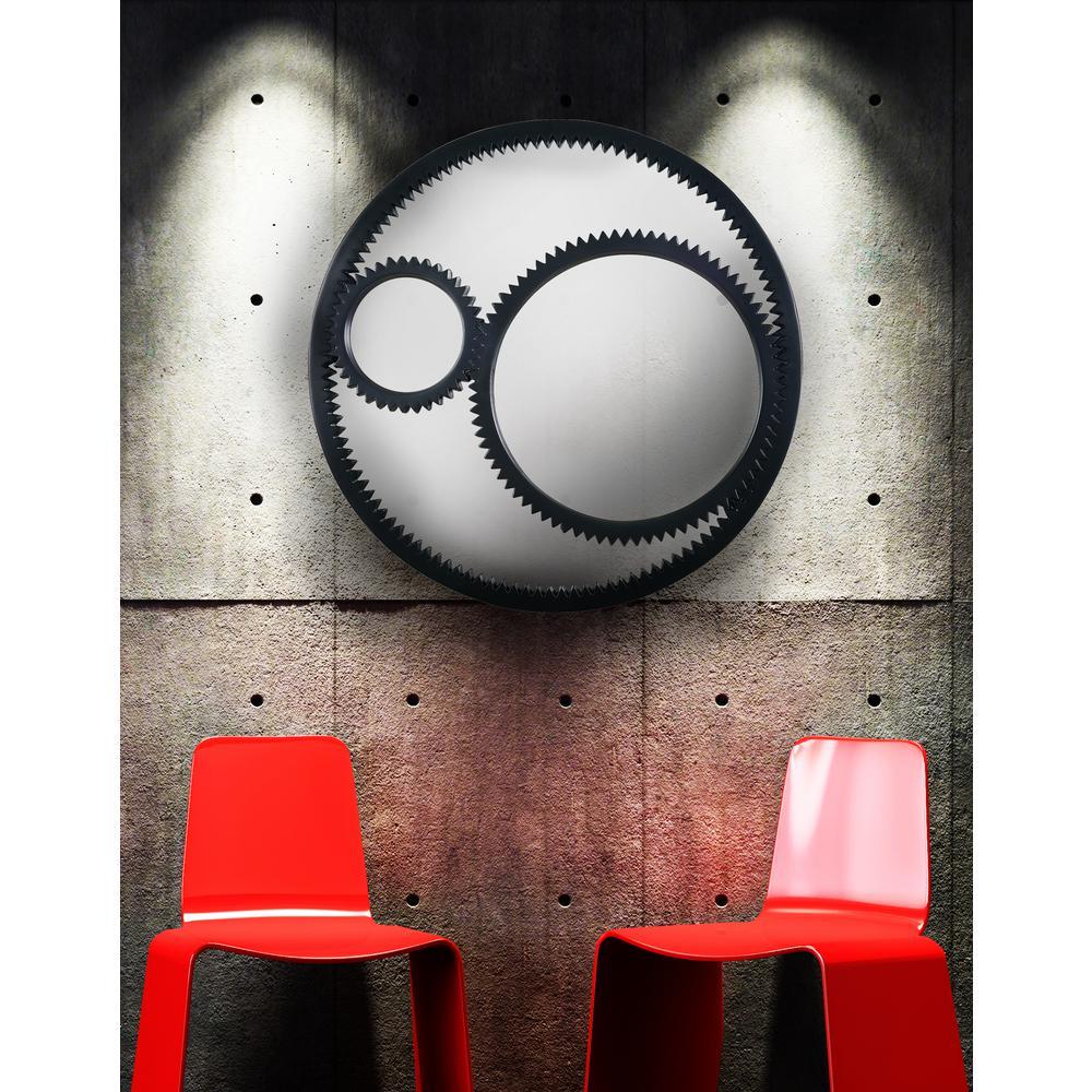 Gear Round Black Decorative Wall Mirror
