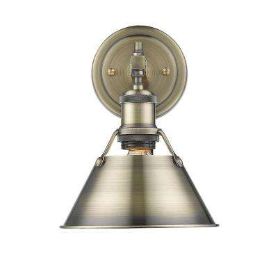 Orwell AB 1-Light Aged Brass Bath Light with Aged Brass Shade