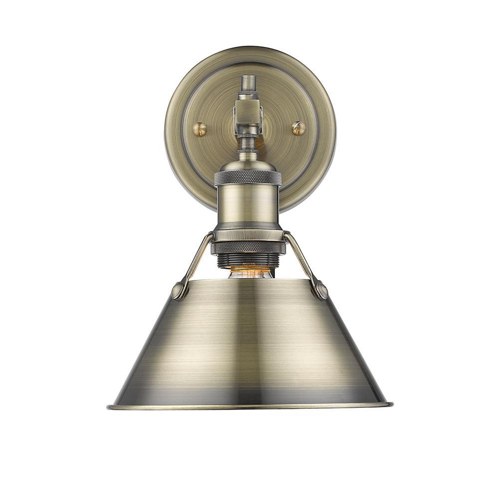 Orwell AB 1-Light Aged Brass Bath Light with Aged Brass Shade