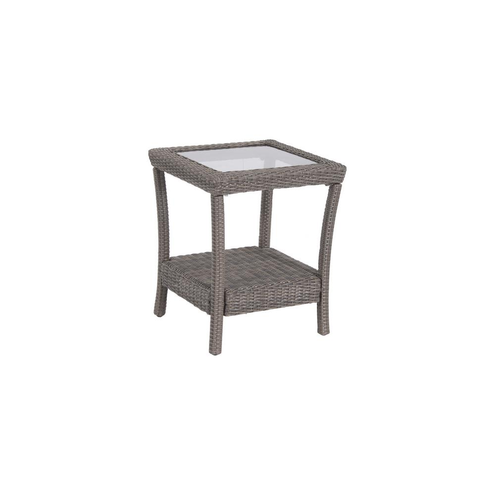 Naples Grey All-Weather Wicker Patio Side Table