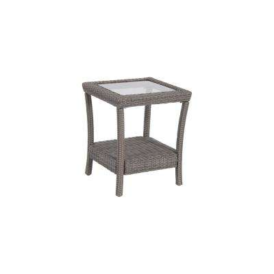 Naples Grey Square All-Weather Wicker Outdoor Side Table with Glass Top