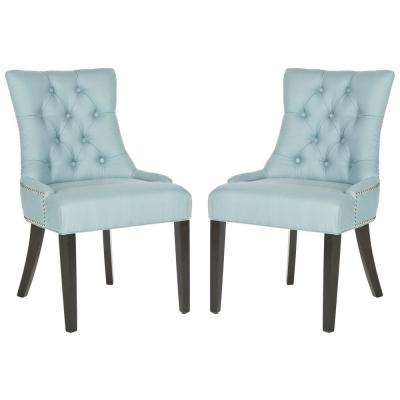 Gentil Harlow Light Blue/Espresso Cotton/Linen Side Chair (Set Of 2)