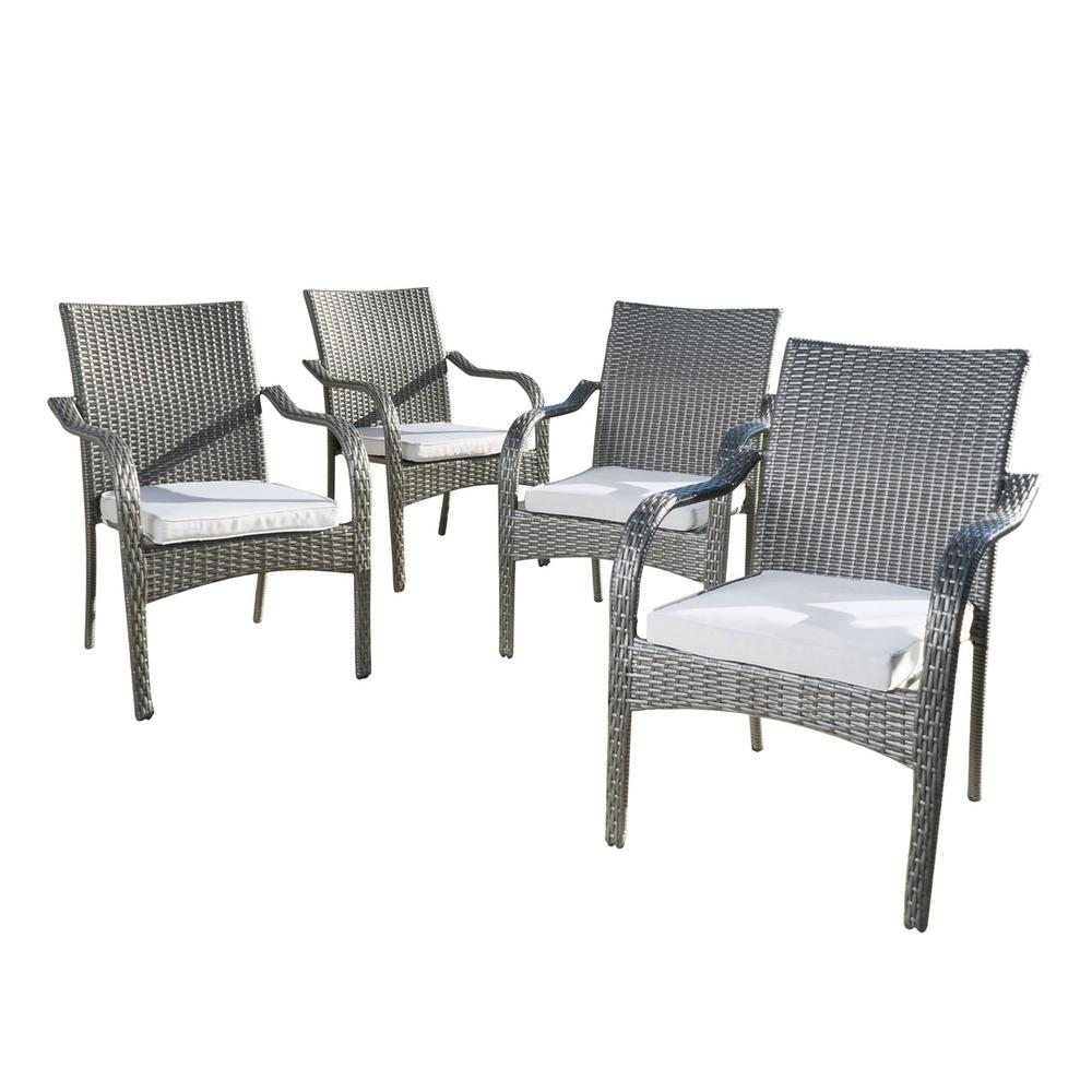Noble House Jaxson Grey Stackable Wicker Outdoor Dining ...