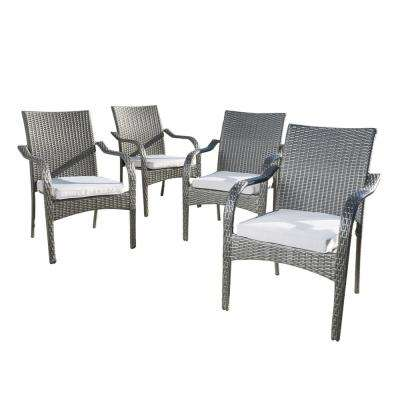 Awe Inspiring Jaxson Grey Stackable Wicker Outdoor Dining Chair With Silver Cushion 4 Pack Home Interior And Landscaping Ologienasavecom