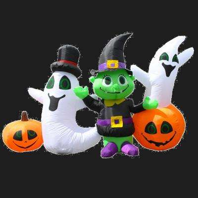 3.9 ft. Waving Halloween Ghost and Goblin Friends Halloween Inflatable