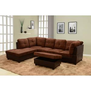 Prime Chocolate Brown Microfiber And Faux Leather Left Chaise Sectional With Storage Ottoman Gmtry Best Dining Table And Chair Ideas Images Gmtryco