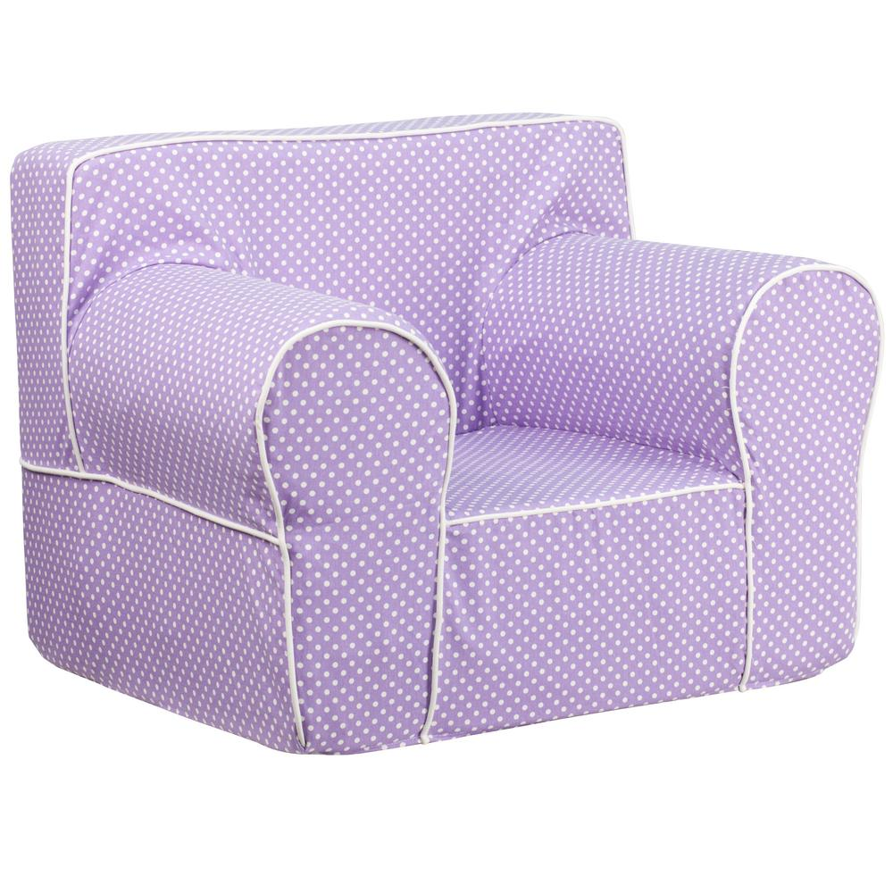 FLASH Oversized Lavender Dot Kids Chair with White Piping...