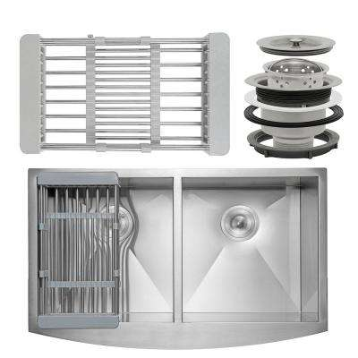 Handcrafted All-in-One Apron-Front Stainless Steel 33 in. Double Bowl Kitchen Sink with Tray and Drain