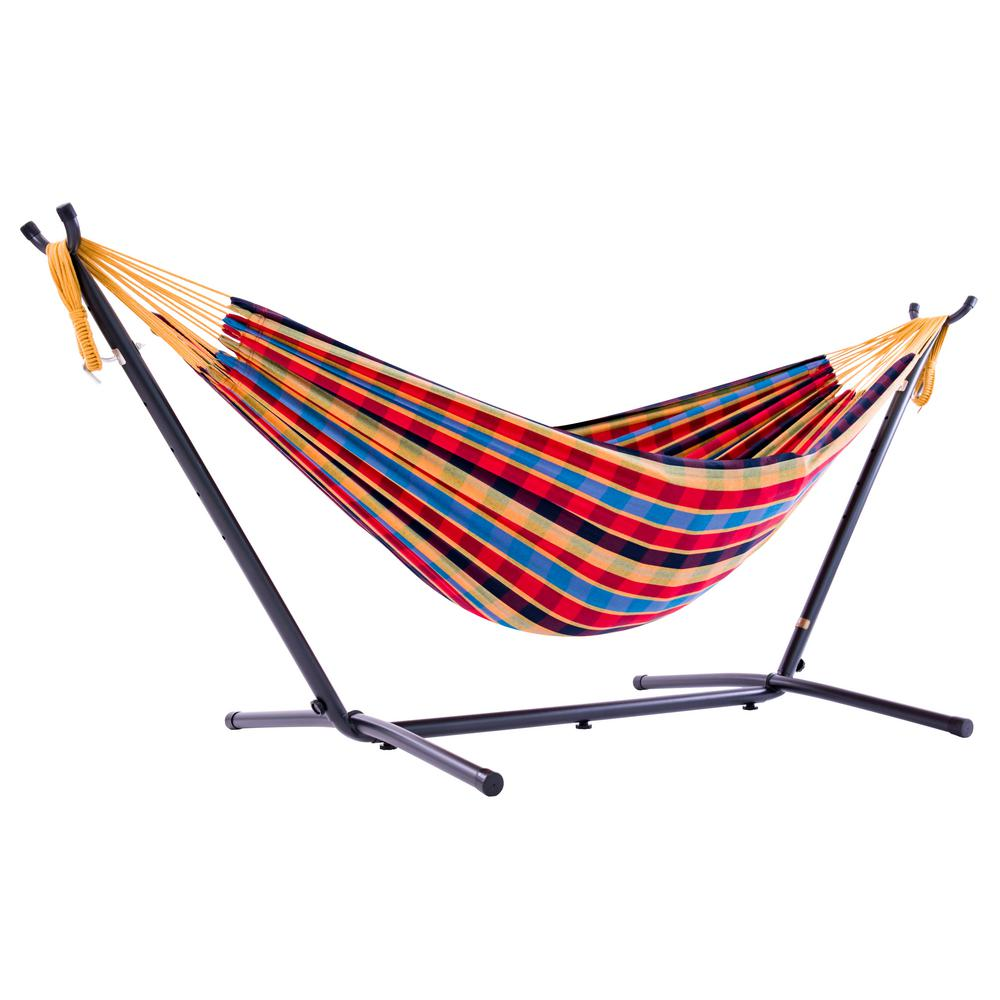 e06f2676754 Vivere 9 ft. Cotton Double Hammock with Stand in Paradise-UHSDO9-23 ...