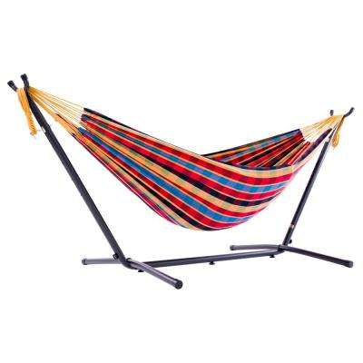 9 ft. Cotton Double Hammock with Stand in Paradise