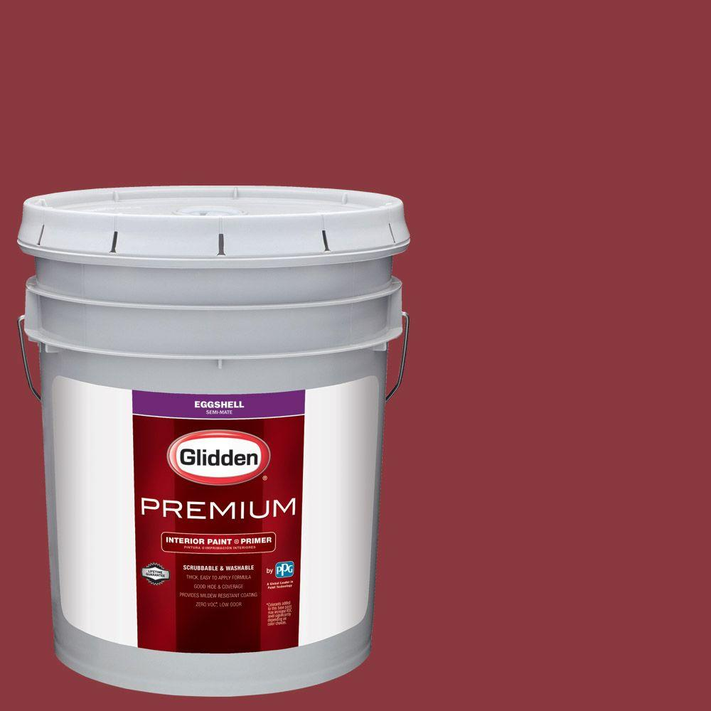 Glidden Premium 5 Gal Hdgr51 Red Delicious Eggshell Interior Paint With Primer