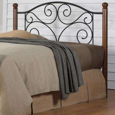 Doral Full-Size Headboard with Dark Walnut Wood Posts and Metal Grill in Matte Black