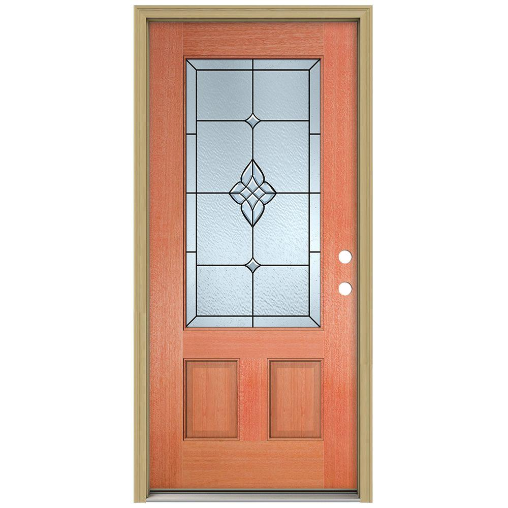 JELD-WEN 36 in. x 80 in. Rosemont 3/4 Lite Unfinished Mahogany Wood Prehung Front Door with Brickmould and Patina Caming