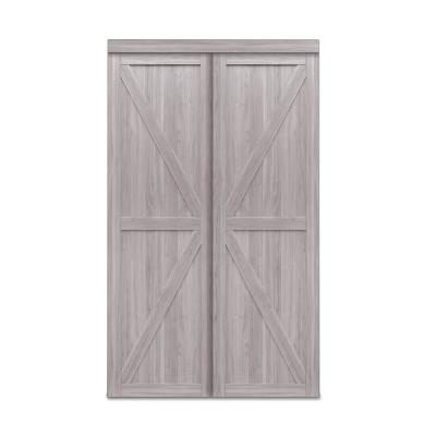 48 in. x 80 in. Trident Silver Oak MDF Sliding Door