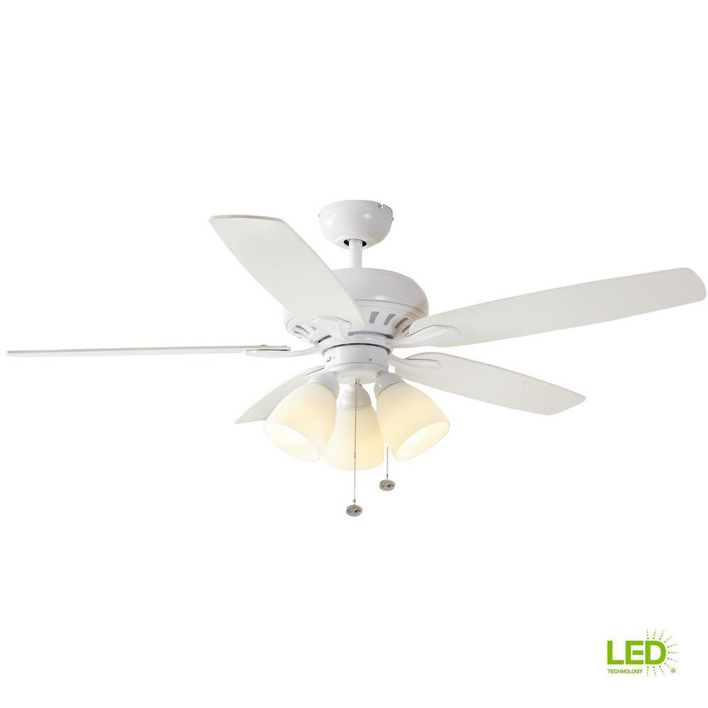 Hampton Bay Rockport 52 in. LED Matte White Ceiling Fan with Light ...