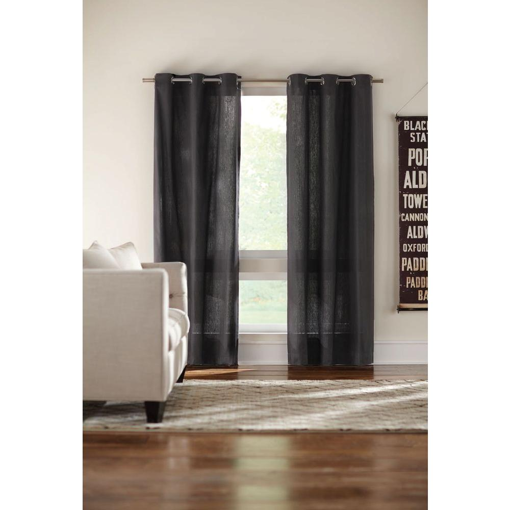 Home decorators collection semi opaque black cotton duck grommet curtain 1624025 the home depot Home decorators collection valance