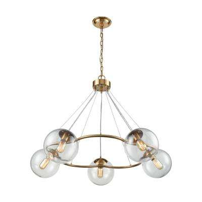 Surface To Air 5-Light Aged Brass Chandelier with Clear Glass Shades