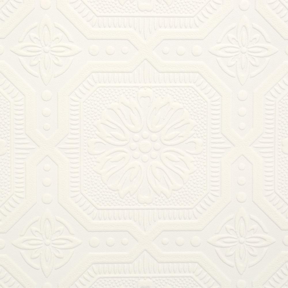 Squares White Vinyl Peelable Wallpaper (Covers 56 sq. ft.)