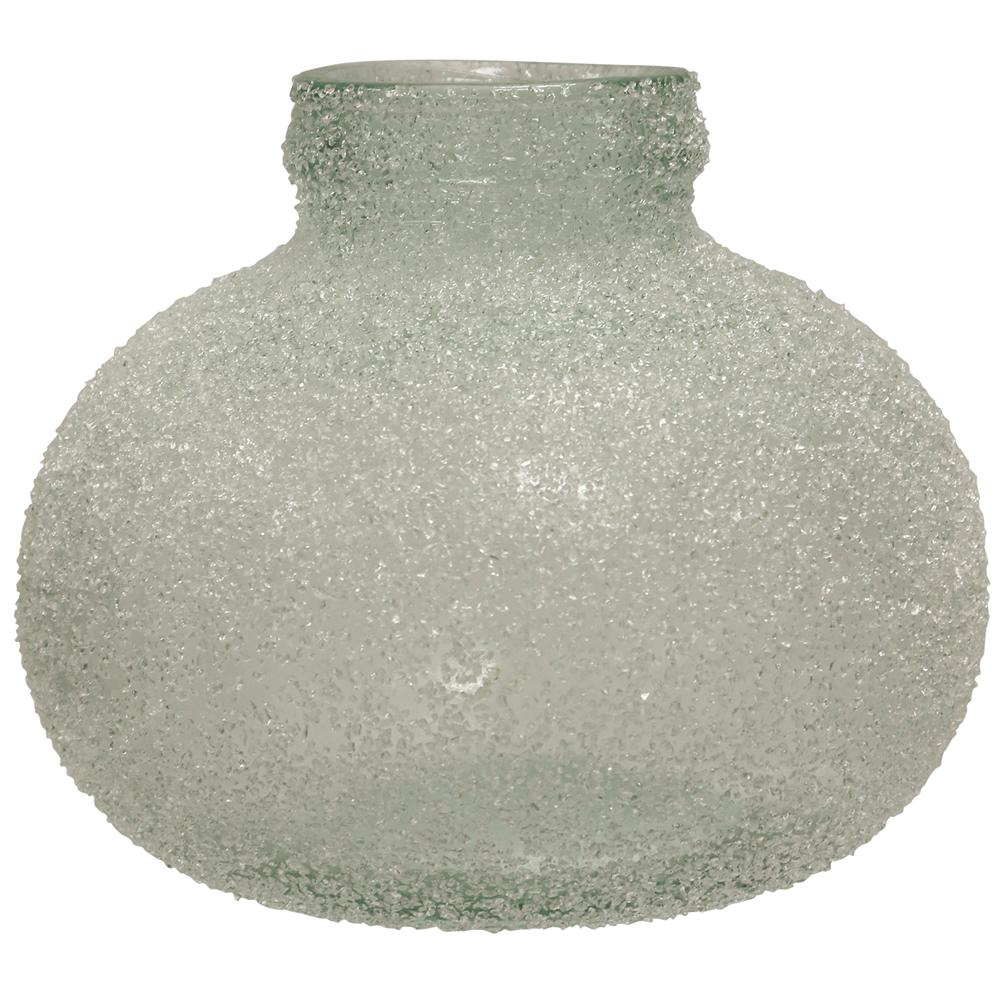 StyleCraft Translucent Smoke (Grey) Crackle Glass Round Vase This broad vase is made using frosted glass to inspire its vintage motif. It features a textured exterior and jar-like neck that makes it a minimal statement piece. Comes in smoke.