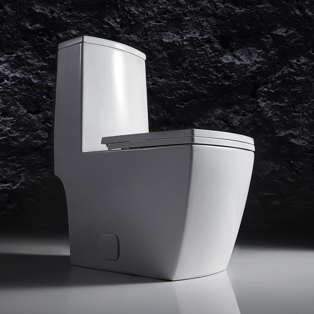 Modern Double Flush Toilet 1 Piece Of 1.28 GPF White Flush Toilet, Square Toilet With Toilet