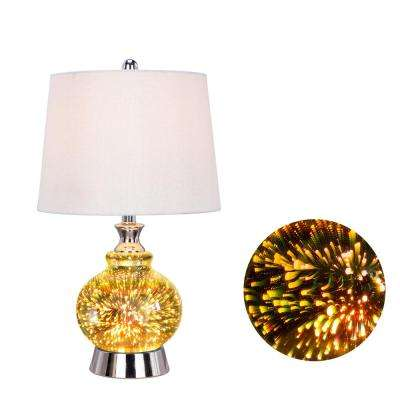 22.5 in. Polished Nickel Metal and Glass Table Lamp with 3D Shooting Star Nightlight Design