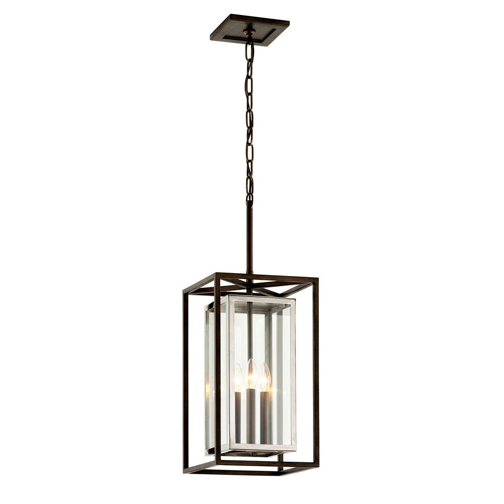 Troy Lighting Morgan 11 in. W Bronze Outdoor 3-Light Hanging Light with Clear Glass