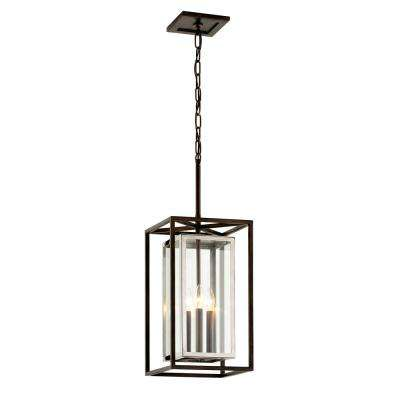 Morgan 11 in. W Bronze Outdoor 3-Light Hanging Light with Clear Glass