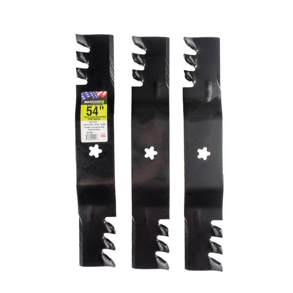 3 Blade Mulching Set for Many 54 in. Cut Craftsman, Husqvarna, and Poulan Mowers Replaces OEM #'s 187254, 187255, 187256
