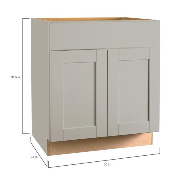 Hampton Bay Shaker Assembled 30x34 5x24 In Base Kitchen Cabinet With Ball Bearing Drawer Glides In Dove Gray Kb30 Sdv The Home Depot