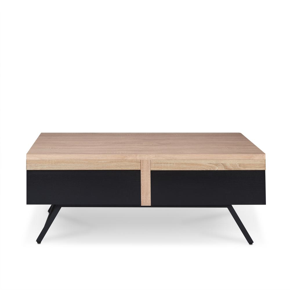 Nuria Rustic Natural and Sandy Black Coffee Table
