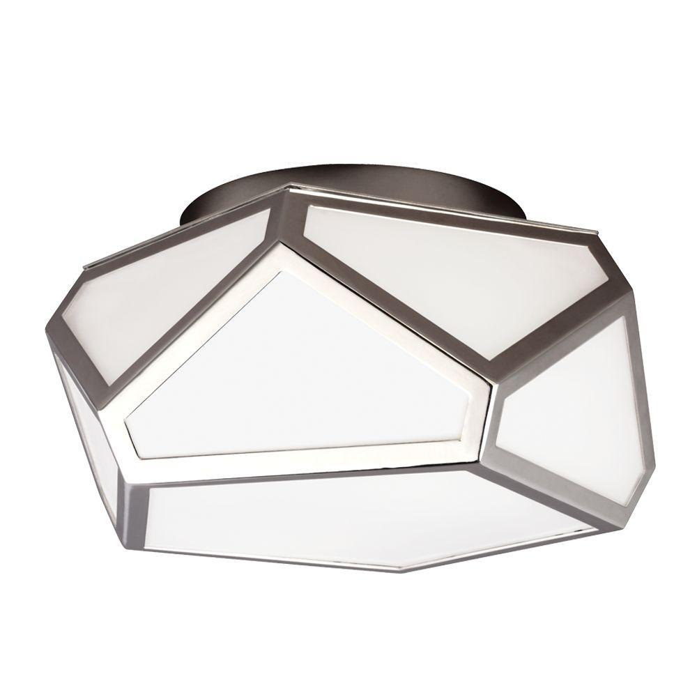Diamond 2-Light Polished Nickel Flush Mount