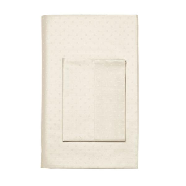 The Company Store Legends Luxury Dot Supima Sateen Cream California King Fitted Sheet