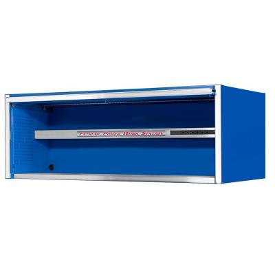 72 in. 0-Drawer Power Workstation Professional Hutch with Stainless Steel Shelf and Work Surface in Blue