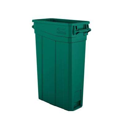 Slim 23 Gal. Green Plastic Trash Can With Handles