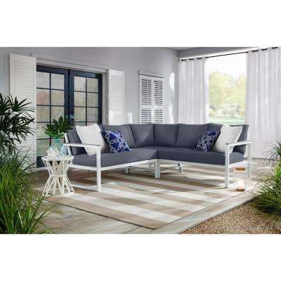 West Park White Aluminum Outdoor Patio Sectional Sofa Seating Set with CushionGuard Sky Blue Cushions